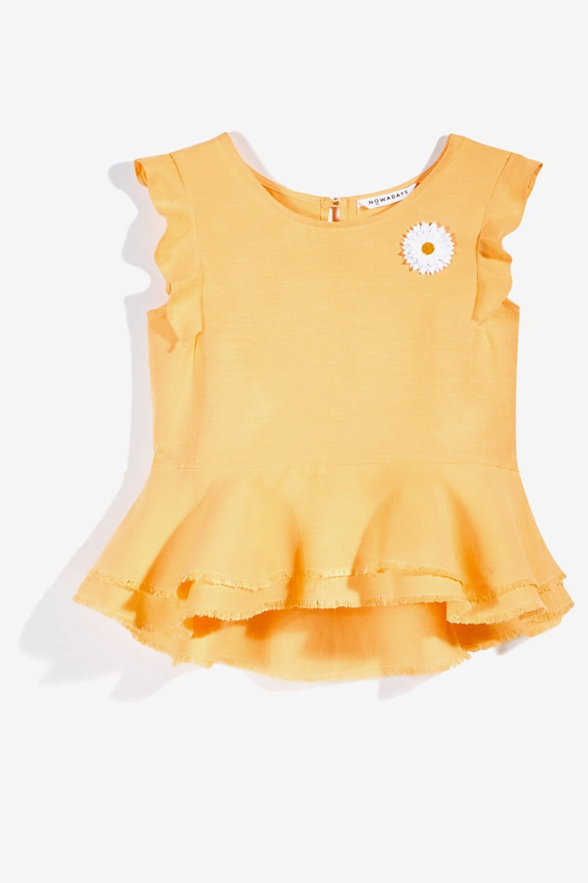 Girl's Bailee Madison Peplum Top, Yellow