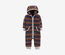 Carter's Baby Boys Striped Hooded Fleece Coverall, Rust/Navy