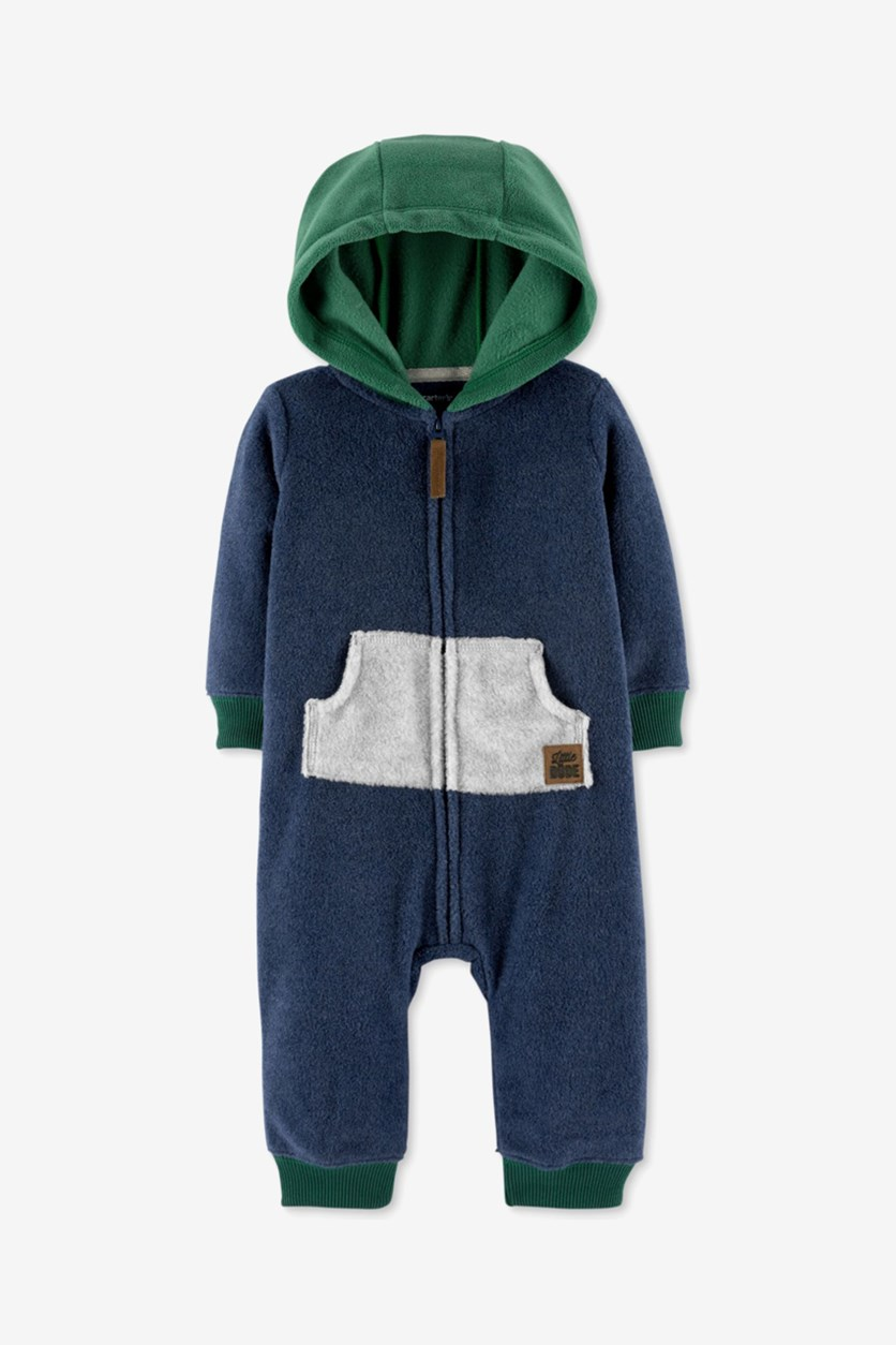 Carter's Baby Boys Hooded Colorblocked Fleece Coverall, Navy Combo