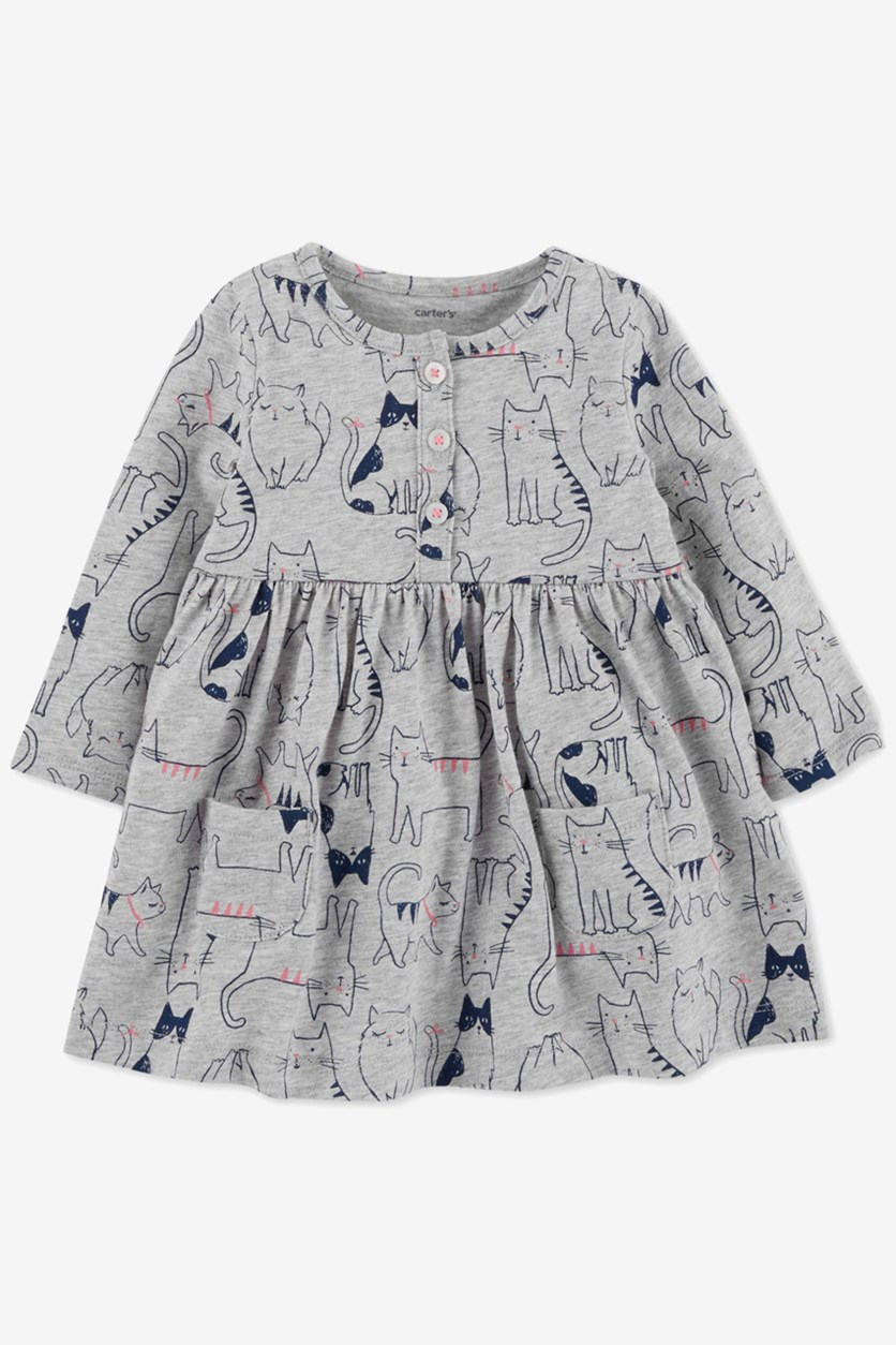 Carter's Baby Girls Cat-Print Cotton Dress, Grey