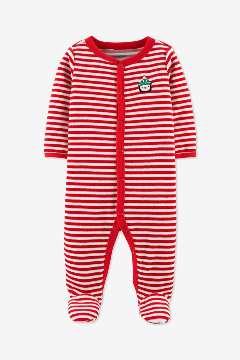 Carter's Unisex Christmas Sleep & Play, Velour Red