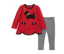 Kids Headquarters Baby Girls 2-Pc. Scottie Dog Tunic & Checked Leggings Set, Red/Black