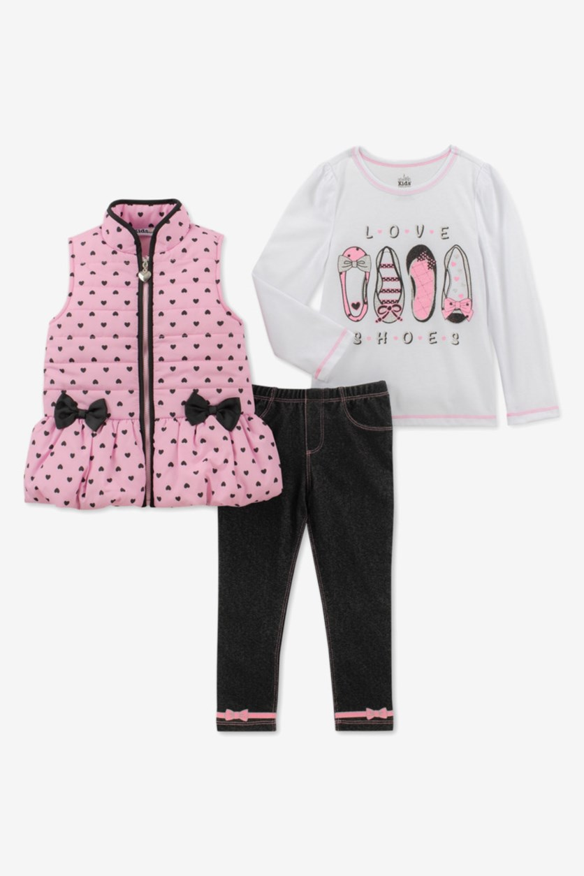 Baby Girls 3-Pc. Vest,  T-Shirt & Denim Leggings Set, White/Pink/Navy