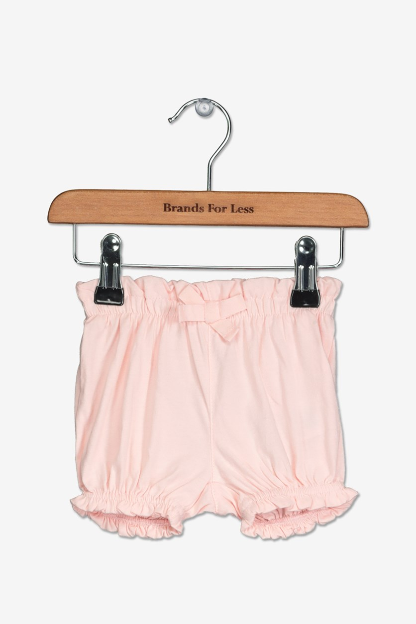 Toddler Girl's Bow Shorts, Pale Pink
