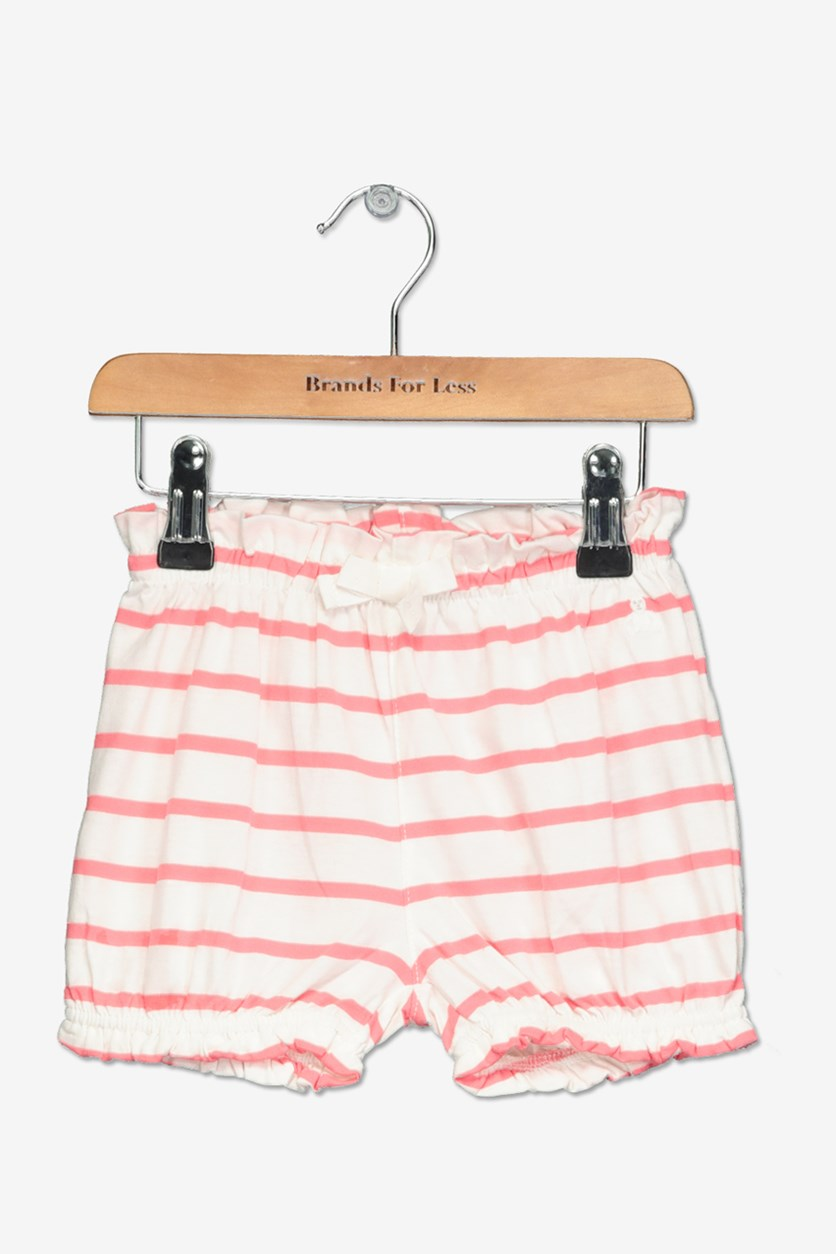 Toddler Girl's Striped Short, White/Pink