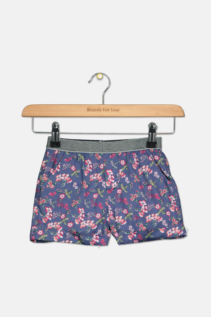 Toddler Floral Print Short, Navy