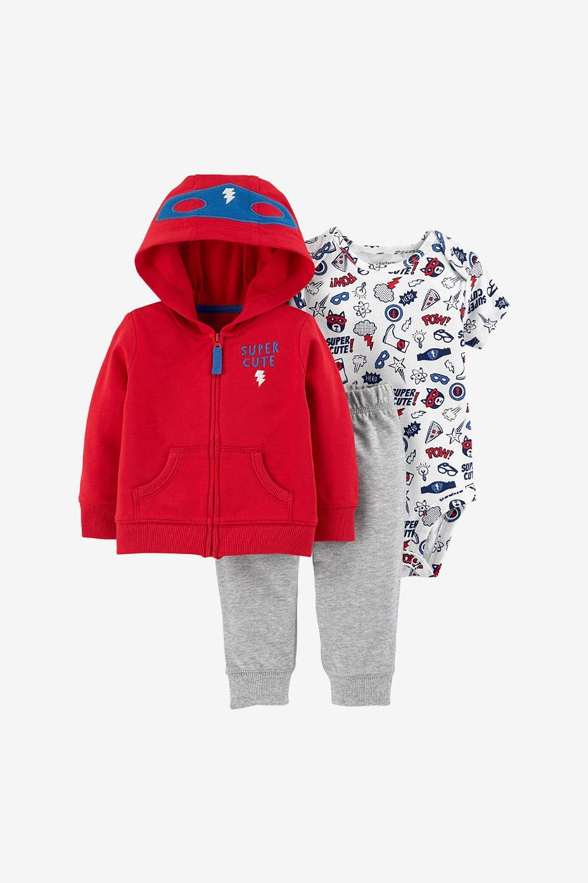 Baby Boys 3-Pc. Cotton Super Cute Hoodie Jacket, Bodysuit & Pants Set, Red/White/Gray