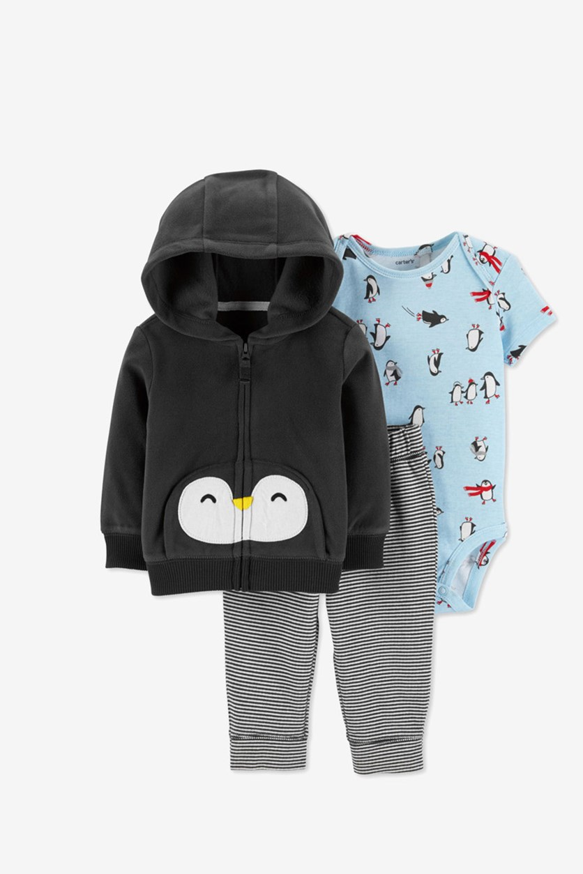 Carter's Baby Boys 3-Pc. Penguin Print Set, Dark Grey Combo