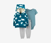 Toddler Boys 3-Pieces Outfit Blue Polar Bear Hoodie Bodysuit & Pants Set, Turquoise/Grey