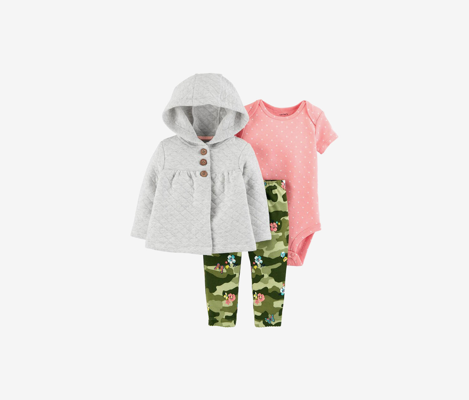 Infant Girls Camouflage & Heather Quilted Cardigan Set, Pink/Olive/Gray