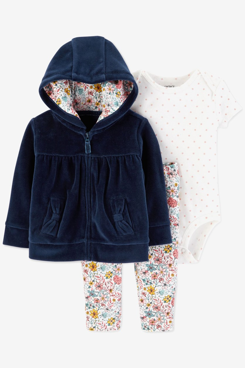 Baby Girls 3-Pc. Velour Hoodie, Bodysuit & Floral-Print Pants Set, Navy Combo