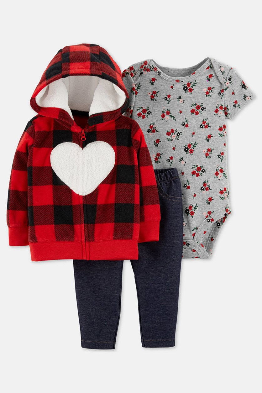 Baby 3-Pc. Heart Hoodie, Floral-Print Bodysuit & Denim Pants Set, Red Combo