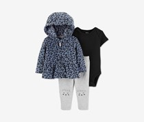 Carter's Toddler Girls' 3 Pcs Fleece Jacket Set, Heather Cheetah