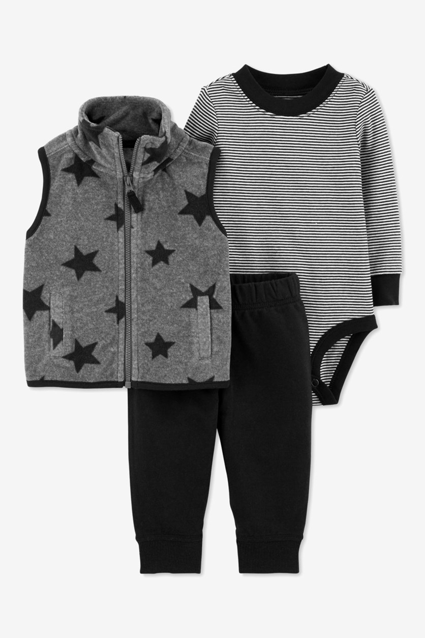 Toddler's Boy's 3 Piece Star Vest, Stripe Bodysuits & Pants Set, Grey