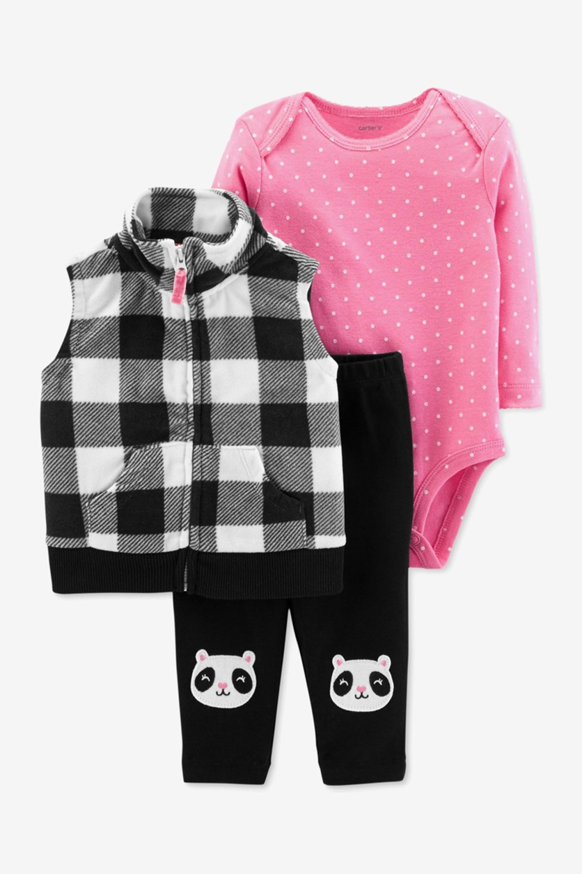 Baby Girls Plaid Vest Polka Dot Bodysuit  Set, Black/Pink/White