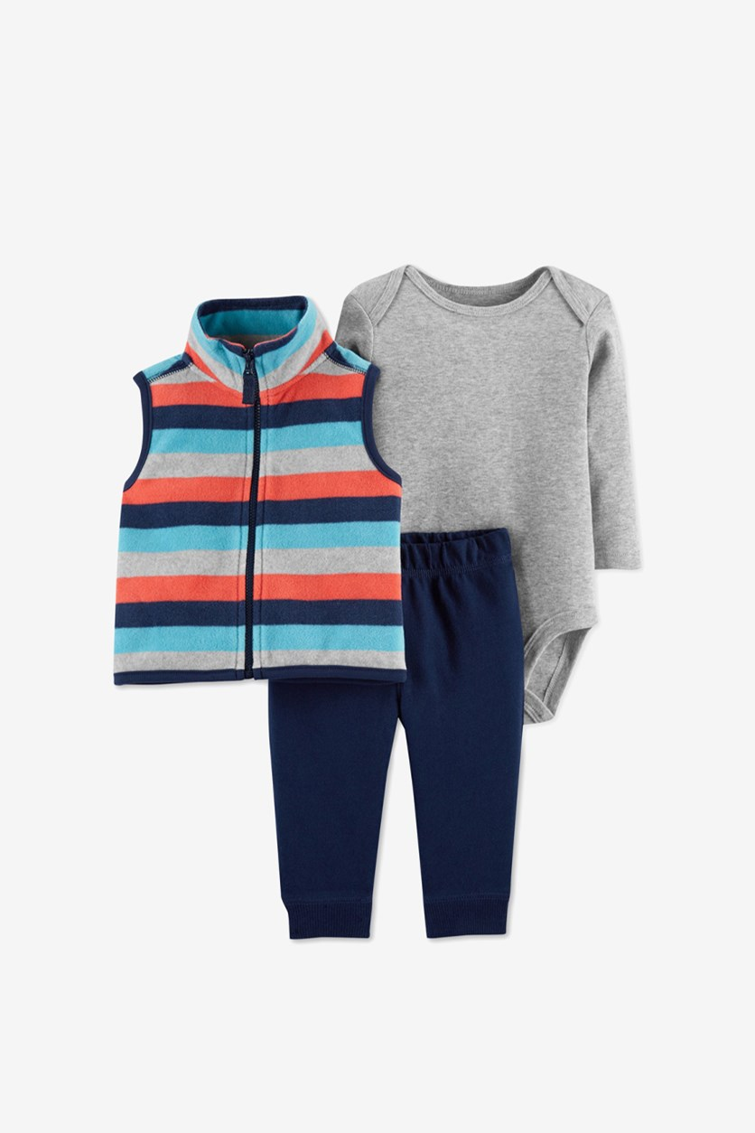 Baby Boys 3-Pc. Striped Vest, Bodysuit & Pants Set, Grey/Navy/Turquoise Combo