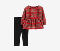 Carter's Toddler Girls' 2-Piece Red & Black Top & Pants Set Plaid Top, Red/Black