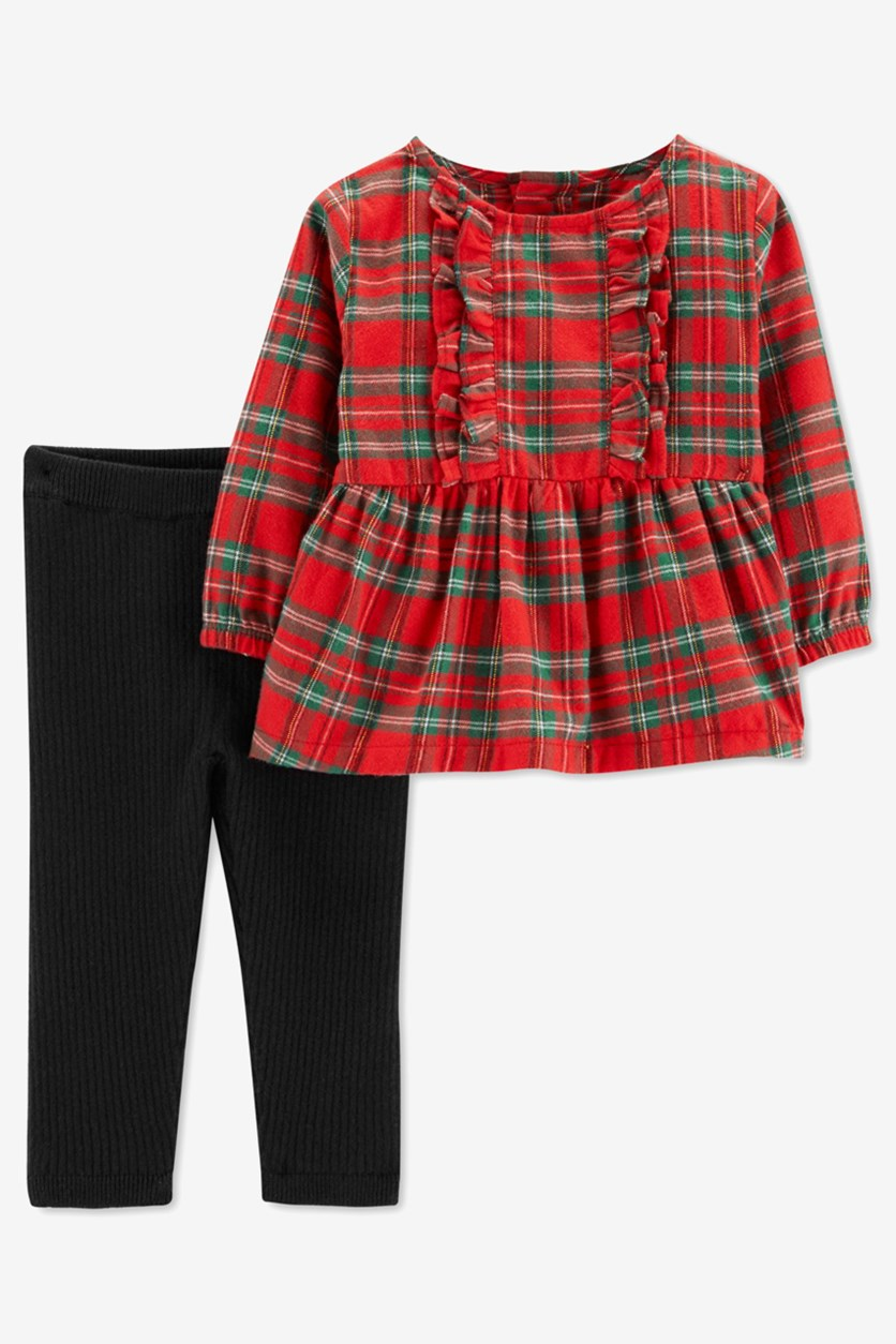 Carter's Toddler Girls' 2-Piece Plaid Top & Pants Set, Red/Black