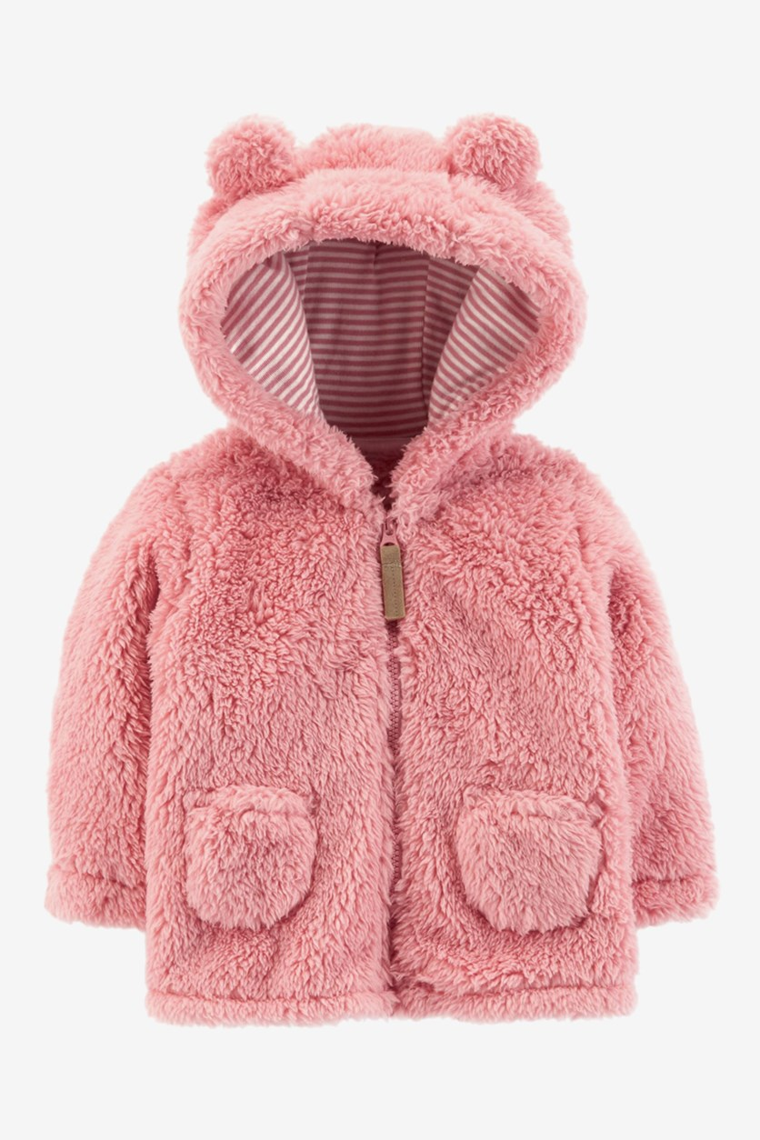 Baby Girls Sherpa Hooded Jacket, Pink