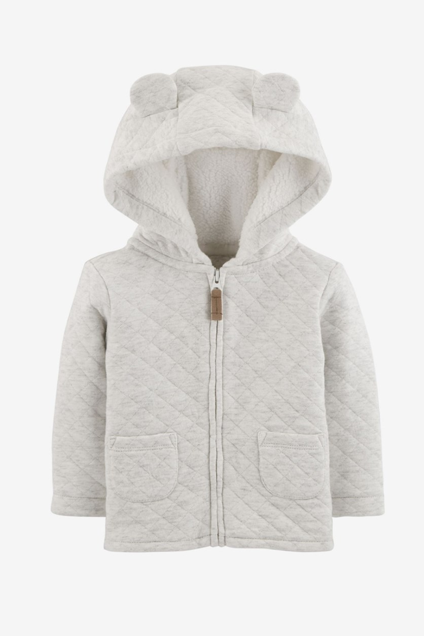 Carter's Baby Zippered Hooded Quilted Jacket, Light Grey