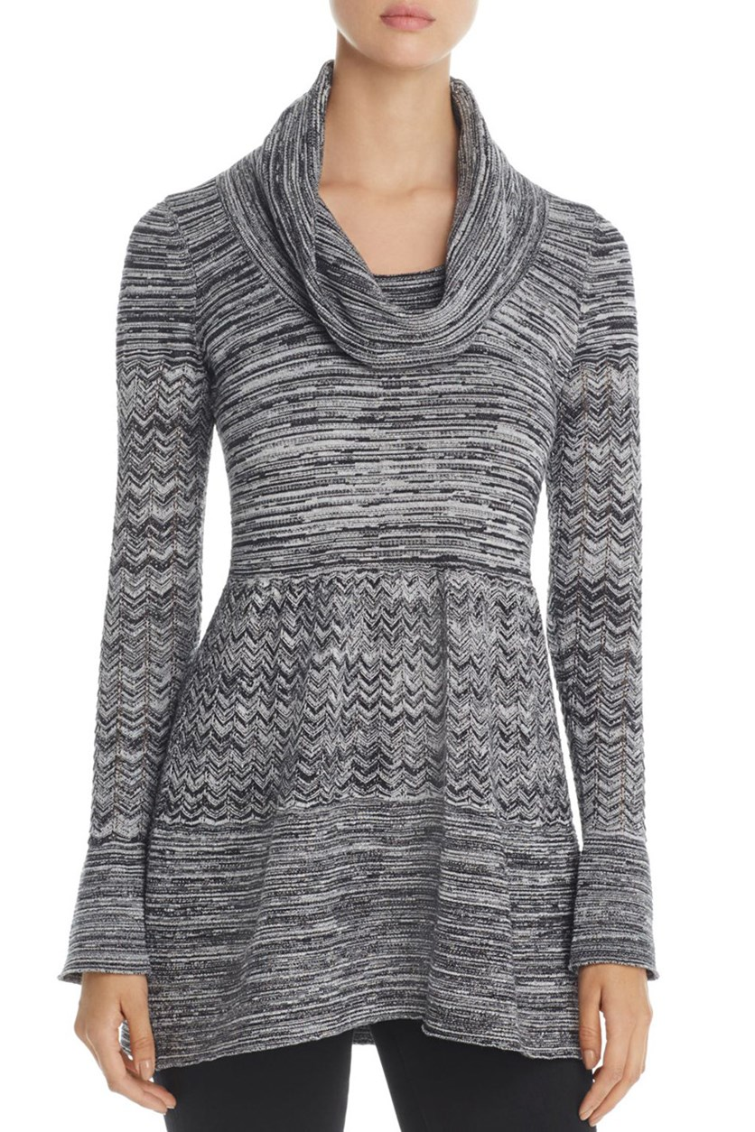 Women's Cowl Neck Marled Tunic Sweater, Charcoal