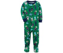 Carter's Boy's 1-Pc. Monster-Print Footed Pajamas, Green