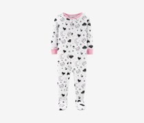 Carter's Baby Girls Printed Footed Pajamas, White Combo