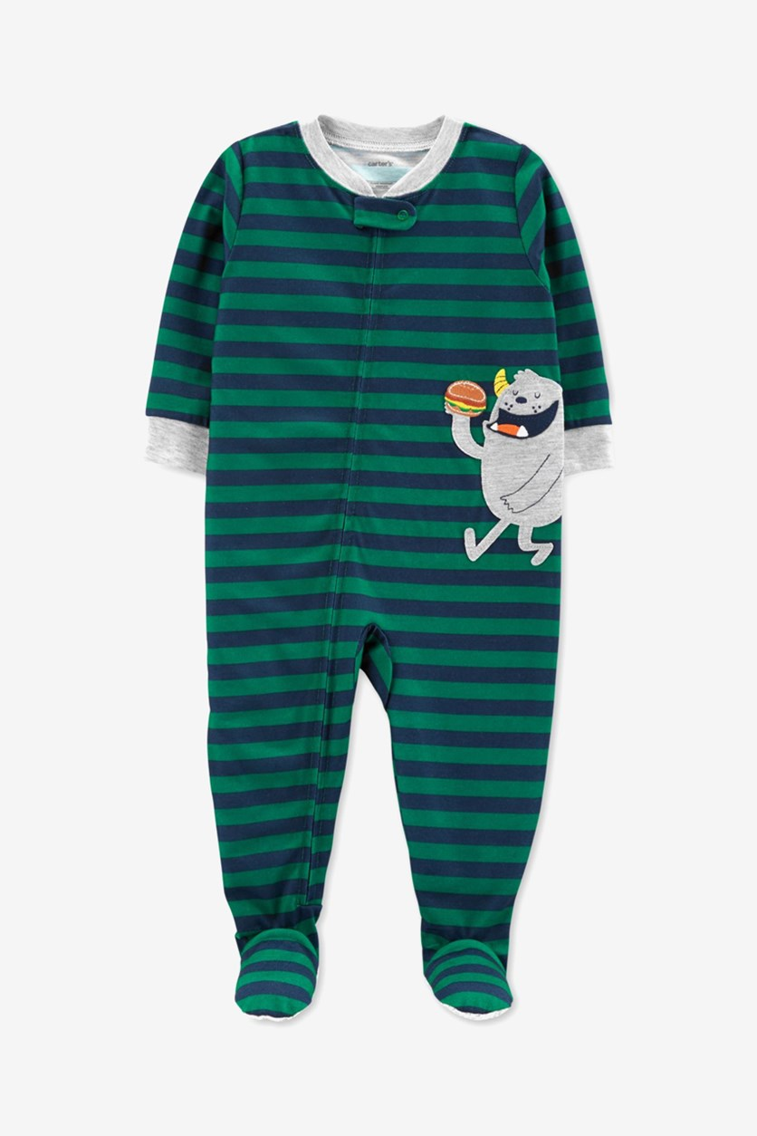 Carter's Baby Boys' 1Piece Monster Poly Pajamas, Green//Navy