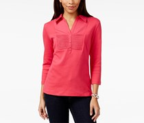 Karen Scott Women's Three-Quarter-Sleeve Pleated Top, Red