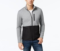 Alfani Men's Big and Tall Colorblocked Knit Jacket, Gray/Black