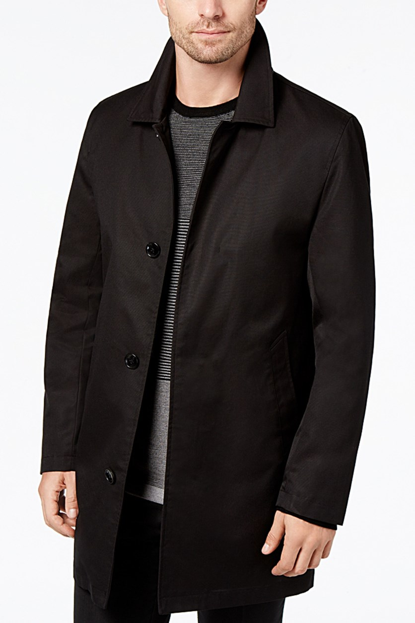 Mens Essential Trench Coat, Jet Black