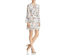 Sam Edelman Women's Floral Print Bell Sleeves Casual Dress, White Combo