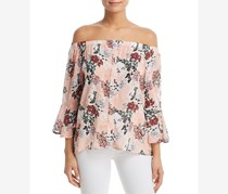 Women's Floral-Print Off-the-Shoulder Top, Peach Print