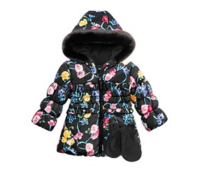 Rothschild Baby Girls 2-Pc. Floral-Print Hooded Jacket & Fleece Mittens, Floral