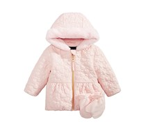 Rothschild Baby Girls 2-Pc. Quilted Hooded Jacket & Fleece Mittens Set, Pink