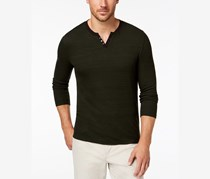 Alfani Men's Textured Space-Dyed Stretch Henley, Green