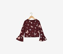 Butterfly Print Bell Sleeve Top, Zinfandel Red