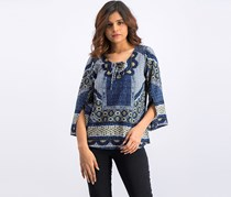 Figueroa And Flower Printed Tops, Blue Combo