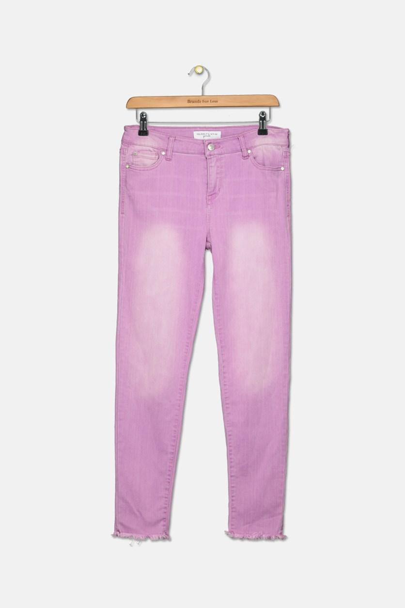Big Girl's Frayed Hem Skinny Jeans, Orchid Light
