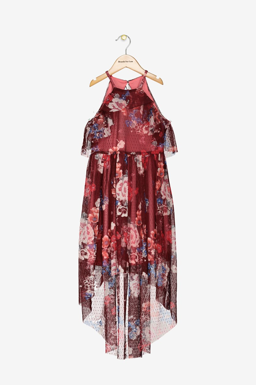 Big Girls Floral-Print Halter Maxi Dress, Burgundy Combo