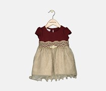 Toddlers Girls Glitters Dress, Burgundy/Beige