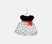 Toddlers Textured Dress, Red/Black