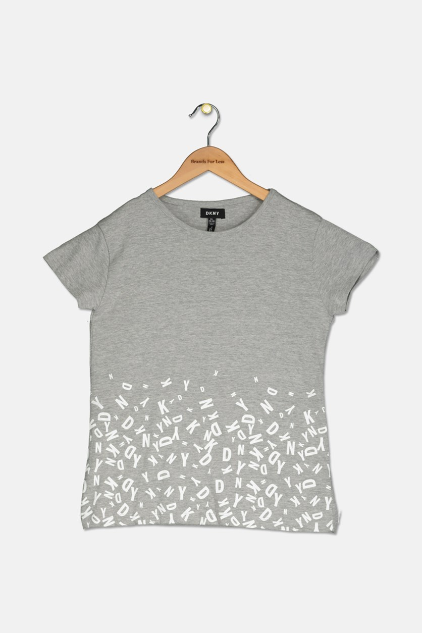 Girls Printed Top, Med Heather Grey