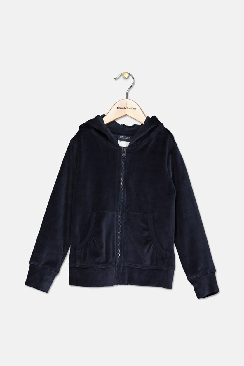 Little Girls Velour Hoodie, Navy