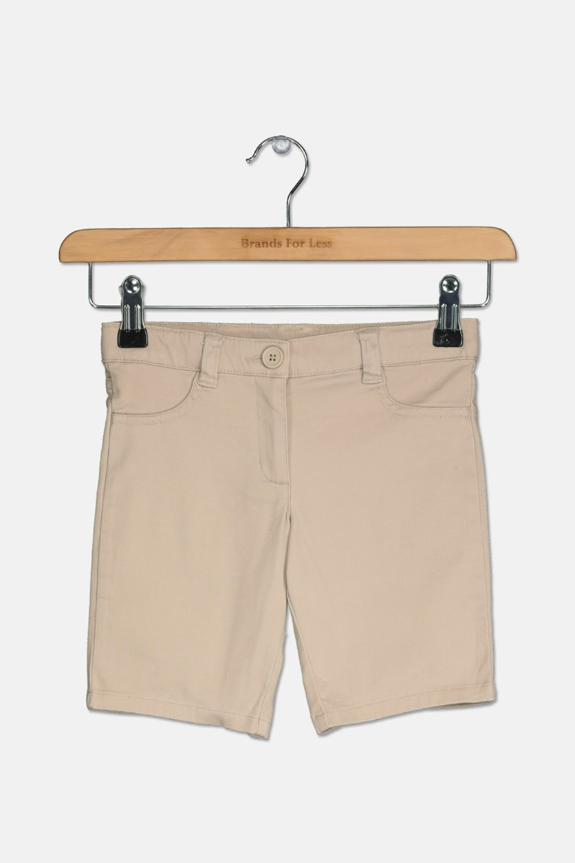 Little Girls Skinny Bermuda Shorts, Khaki