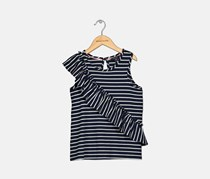 Nautica Girls Stripe Ruffle-Accent Tank Top, Navy