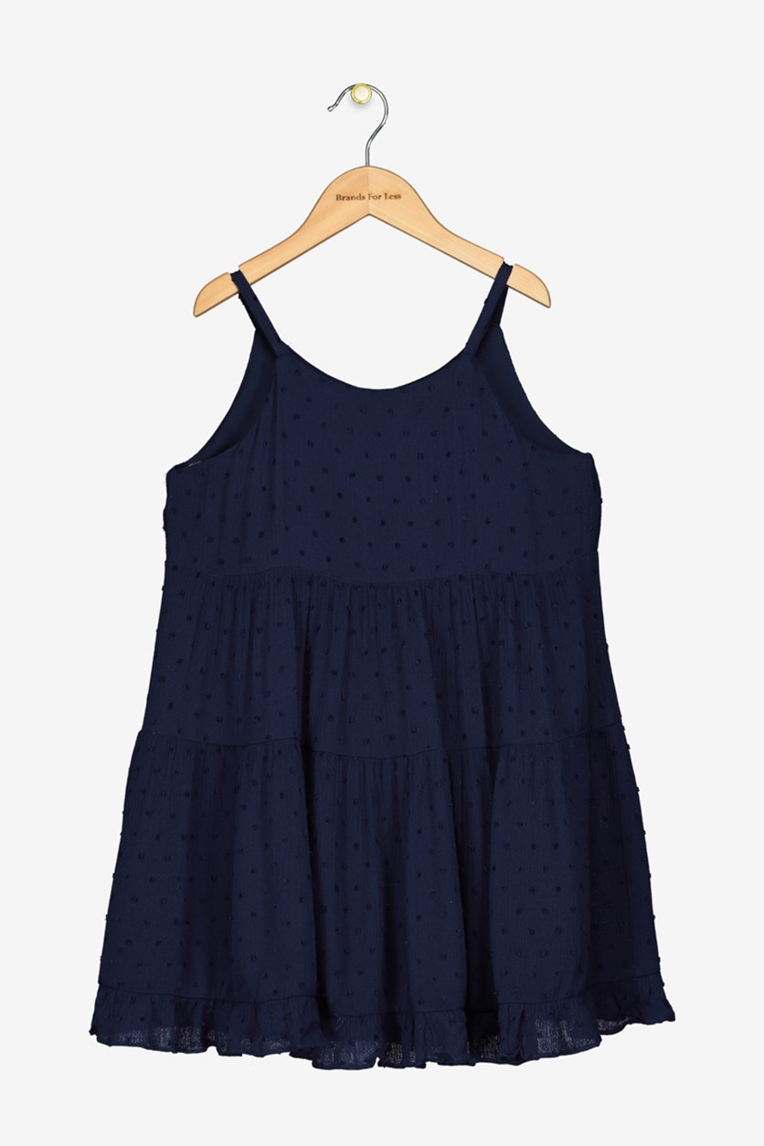 Girls' Tiered Swiss Dot Dress, Navy Blue