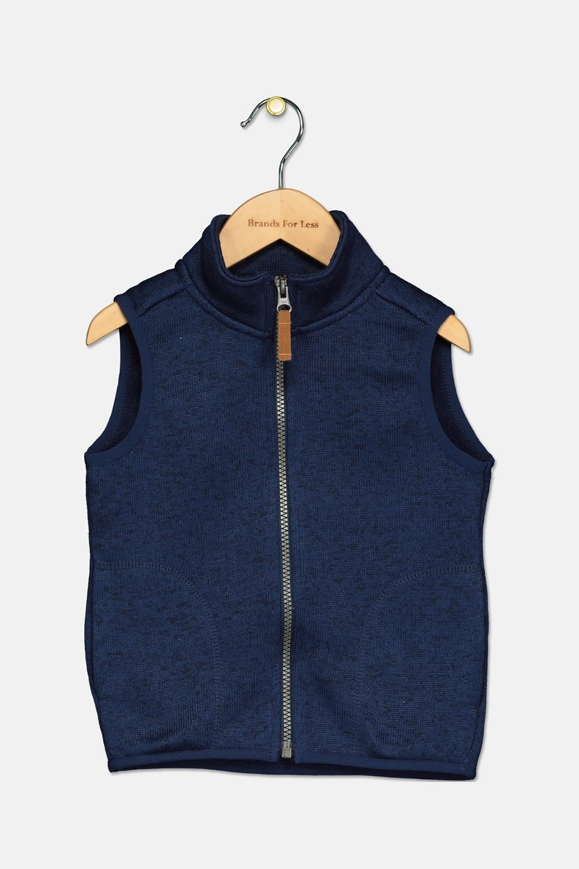 Toddler Boys' Knitted Sweater Vest, Navy