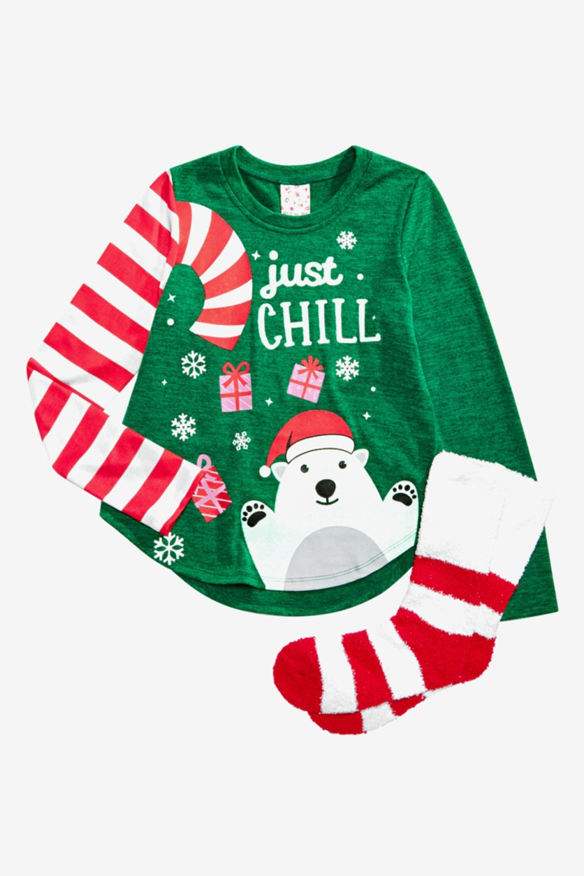 Self Esteem Big Girl's 2-Pc. Holiday Top & Socks Set, Green