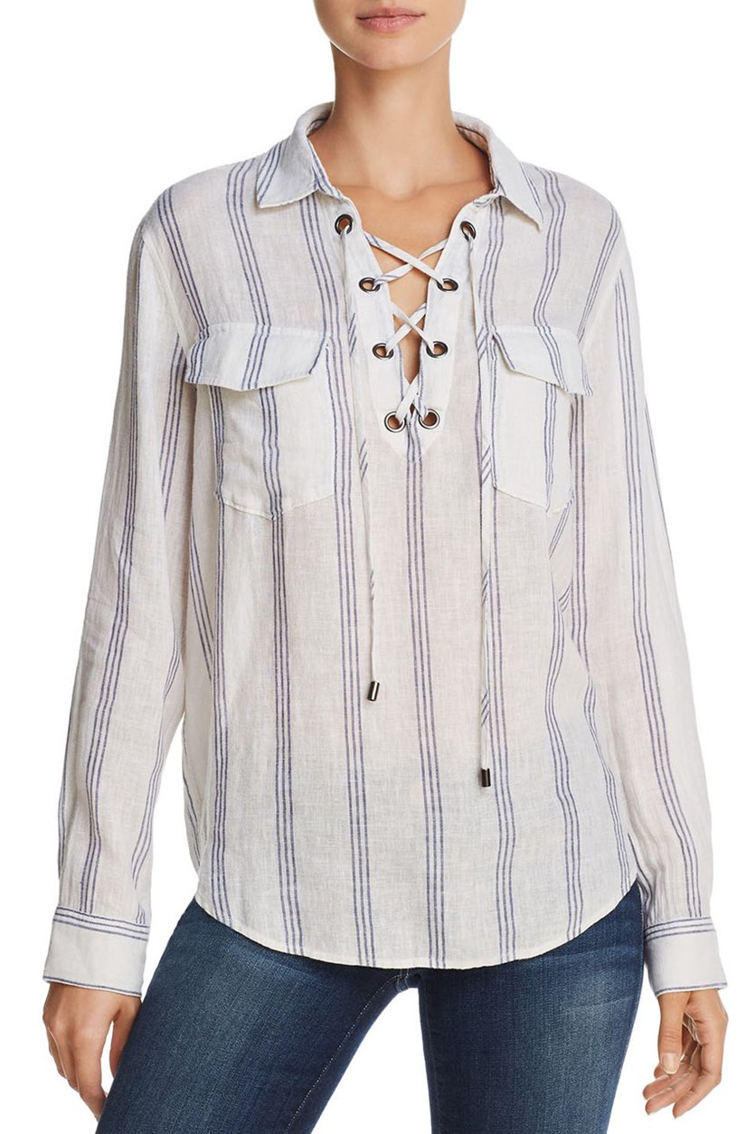 Women's Matea Linen Striped Blouse, Flamenco Stripe